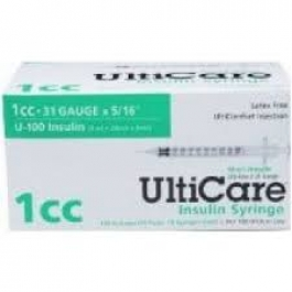 UltiGuard U-100 Insulin Syringes 31 Gauge, 1cc, 5/16