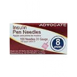 Advocate Pen Needles 31 Gauge, 8cc, 5/16