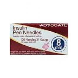 Advocate Pen Needles 31 Gauge, 8mm- 100ct