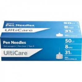 Ulticare Pen Needles 31 Gauge, 8mm- 50ct