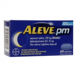 Aleve PM Pain Reliever, Nighttime Sleep-Aid Caplets- 20ct