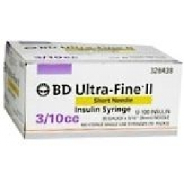 BD Ultrafine II Insulin Syringe  31 Gauge,  3/10cc, 5/16