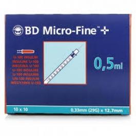 BD Insulin Syringe 29 Gauge, 1/2cc, 1/2