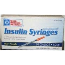 Good Neighbor Pharmacy Insulin Syringe, 30 Gauge, 1/2cc, 5/16