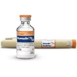 Humulin 70/30, Insulin KwikPen 100units/ml,  3ml Pen- Box of 5 Pens