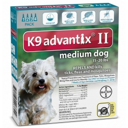Advantix II K-9  (For Medium Dogs, 11 to 20 lbs) - 4 Pack (Teal)