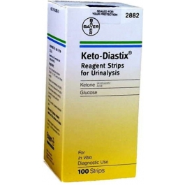 KETOSTIX Bayer Reagent Strips for Urinalysis, Tests for Urine, Glucose, and Ketones - 100ct