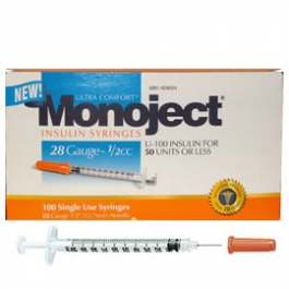 Monoject Insulin Syringe 28 Gauge, 1/2cc, 1/2