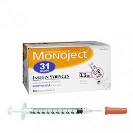Monoject Ultra Comfort Insulin Syringe 31 Gauge, 3/10cc, 5/16