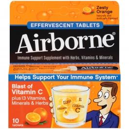 Airborne Health Formula Effervescent Tablets, Orange- 10ct