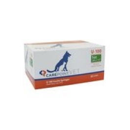 Carepoint Veterinary U-100 Insulin Syringe 28 Gauge, 1cc, 1/2