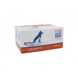 Carepoint Veterinary U-100 Insulin Syringe 29 Gauge, 3/10cc, 1/2