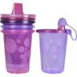 The First Years Take & Toss Sippy Cups Spill-Proof, Pink, 10 oz- 4pack
