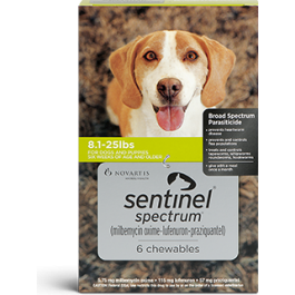 Sentinel Spectrum (For Dogs 8.1-25 lbs) Chewables- 6 Month Pack