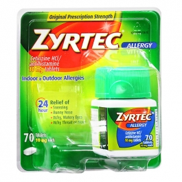 Zyrtec Allergy 24 Hour 10mg Tablets - 70ct