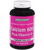 Natures Bounty Calcium 600 Tablets Plus Vitamin D 250 ct