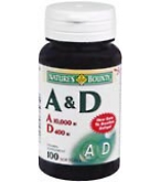 Natures Bounty Vitamin A and D Softgels  - 100****OTC DISCONTINUED 2/28/14