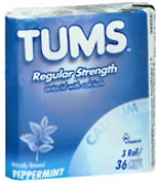 Tums Tablet Rolls 3 Packs per Sleeve (Peppermint)  - 36 Rolls- BACK ORDERED 9-5