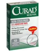 Curad Non-Stick Pads With Adhesive Tabs 2 Inches X 3 Inches  10ct