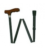 Black Cane With Walnut Finish Derby Handle Folding Adjustable A773-Carex