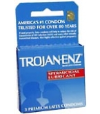 Trojan-Enz Condoms Spermicidal Lubricated Latex 3 ct