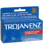 Trojan-Enz Condoms Spermicidal Lubricant Latex 12 ct