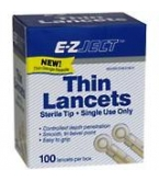 E-Z-Ject Thin Blood Glucose Lancets 100/Box