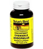Natures Blend Acidophilus Chewable Tablets Raspberry Flavor 100ct