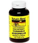 Natures Blend Acidophilus Chewable Tablets Raspberry Flavor 100ct