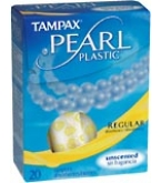 Tampax Pearl Tampons Plastic Regular Absorbency Unscented - 20