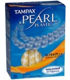 Tampax Pearl Tampons Plastic Super Plus Absorbency Unscented - 18