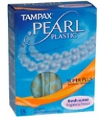 Tampax Pearl Tampons Plastic Super Plus Absorbency Fresh Scent - 18
