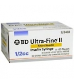 BD Ultrafine II U-100 Insulin Syringe 31 Gauge 1/2cc 5/16 inch Short Needle 100/Box
