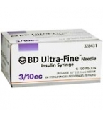 BD Ultrafine U-100 Insulin Syringe  30 Gauge 3/10cc 1/2 inch Needle 100/Box