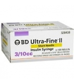 BD Ultrafine II U-100 Insulin Syringe  31 Gauge 3/10cc 5/16 inch Short Needle 100/Box