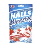 Halls Breezers Pectin Throat Drops Cool Creamy Strawberry 25 Drops****OTC DISCONTINUED 2/28/14