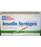 Insulin Syr U-100 28 Gauge 1cc 1/2 inch Needle  (GNP Brand) 100/Box