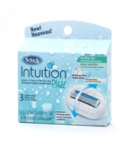 Schick Intuition Plus Refill Cartridges Lathers & Shaves Sensitive Skin - 3