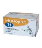 Monoject Ultrafine U-100 Insulin Syr 31 Gauge 1cc 5/16 inch Needle 100/Box