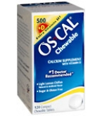 Os-Cal 500+D Chewable Tablets Sugar Free Light Lemon Chiffon 120 ct