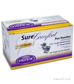 "SureComfort Pen Needle 31 Gauge, 3/16"", 100 Count"