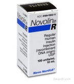 Novolin R Insulin, 100 Units/mL, 10mL Vial