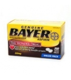 Bayer Genuine Aspirin Easy Open Cap 325mg Coated Tablet 200ct****OTC DISCONTINUED 3/5/14