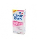 Clear Eyes Triple Action Relief Lubricant Redness Reliever Eye Drop .5oz