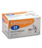 Monoject Ultrafine U-100 Insulin Syr 30 Gauge 3/10cc 5/16 inch Needle 100/Box