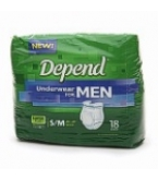 Depend Underwear Men Super Plus Absorb Sm/Med 28-40 inches 64/Case