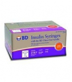 "BD Insulin Syringe Ultra-Fine 31 Gauge, 3/10cc, 5/16"" (Short Needle), 1/2 Unit Markings - 100 Count"