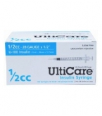 "UltiCare U-100 Insulin Syringe, 28 Gauge, 1/2cc, 1/2"" - 100 Count"