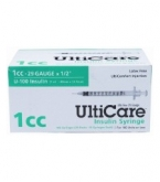 "UltiCare U-100 Insulin Syringe, 29 Gauge, 1cc, 1/2"" Needle - 100 Count Box"