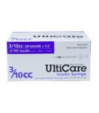 "UltiCare U-100 Insulin Syringe, 29 Gauge, 3/10cc, 1/2"" Needle - 100/Box"